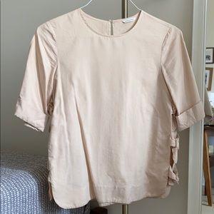 Club Monaco blush top with side slit bowtie detail